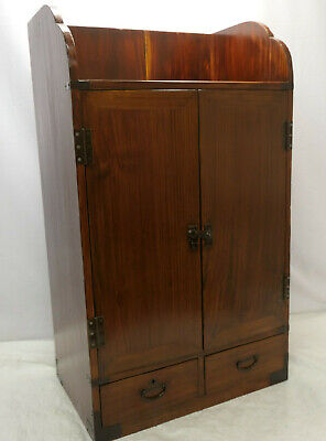 Antique Sugi Wood Book Chest Cabinet Drawers Japanese 1910s #243
