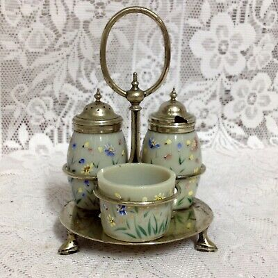 Antique Victorian Hand Painted Opaque Milk Glass Cruet Set On Silver Plate Stand