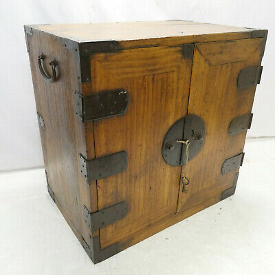 Antique Kiri Wood KANNON-BIRAKI Style Document Chest Japanese Draws C1900s #246