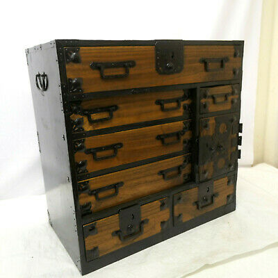 Antique Kiri & Sugi Wood Small Tansu Chest Japanese Drawers Circa 1880s #248