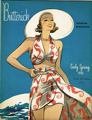 1930s Butterick Early Spring 1936 Fashion and Pattern Book Catalog E-Book on CD