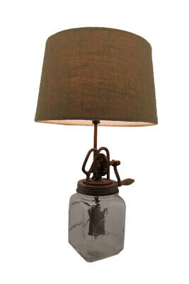 Zeckos Antique Style Butter Churn Glass and Metal Table Lamp Country Vintage