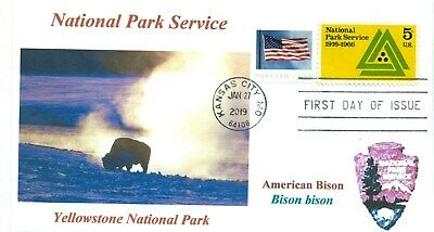 Yellowstone Nacional Parque Wyoming Bison Color Cachet Primer Día Pm