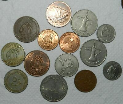 14 X Middle East Coins - Arab Emirates, Qatar & Bahrain