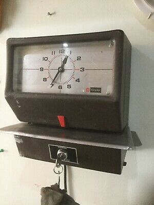 Vintage Clocking-in Time Clock Theatrical Prop Industrial Decor Simplex 9096