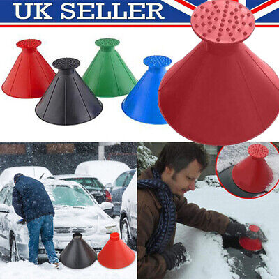 UK Magical Car Windshield Ice Snow Scraper Remover Tool Cone Shaped Round Funnel