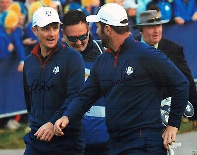 Justin ROSE & Jon RAHM SIGNED 14x11 Photo AFTAL COA Golf Ryder Cup Winners 2018