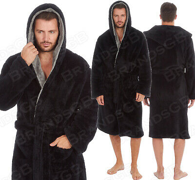 **New** Mens Hooded Super Soft&Cosy Luxury Fleece Dressing Gown Robe Sizes M-5Xl