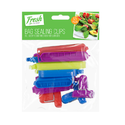 Pack of 13 Food Storage Bag Clips Assorted Size Food Freezer Fridge Sealing Pegs