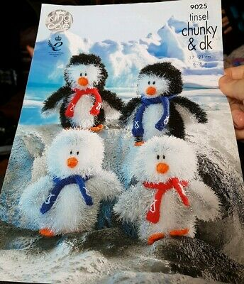 King Cole 9025 Knitting Pattern Tinsel Chunky Penguins