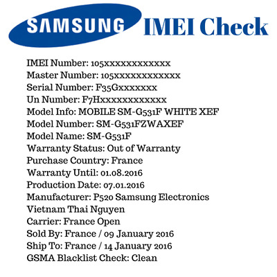 SAMSUNG INFO IMEI CHECK: Manufacturer + Warranty + Sold by + Carrier + Blacklist