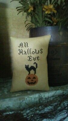 Primitive ~ All Hallows Eve ~ Early Look Cross Stitch Pillow ~ Seasonal