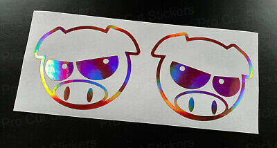 Manga Angry Mad Pigs Rose Gold Pink Neo Hologram Chrome Stickers Decals JDM