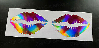 Lips Lipstick Kiss Rose Gold Pink Neo Chrome Hologram Car Wall Stickers Decals