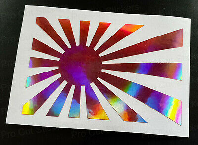 Rising Sun Flags Pink Rose Gold Neo Hologram Chrome Car Wall Window Stickers JDM