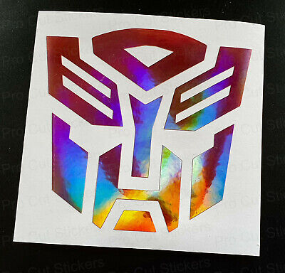 Transformers Autobot Robot Pink Rose Gold Neo Hologram Chrome Wall Sticker Decal