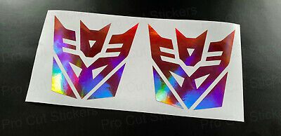 Transformers Decepticons x2 Pink Rose Gold Neo Hologram Chrome Car Wall Stickers