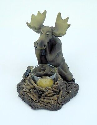 Mooses Votive Candle Big Sky Carvers Holder Sitting To Amuse and Collect 2000
