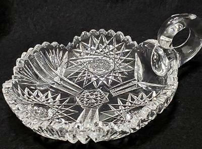 Antique American Brilliant Period ABP Cut Glass Nappy Candy NUT Dish with Handle