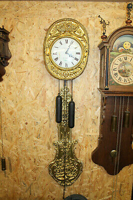 Old Wall Clock Comtoise Chimes Clock in Brass perfect *Louis Jaquine St. Etienne