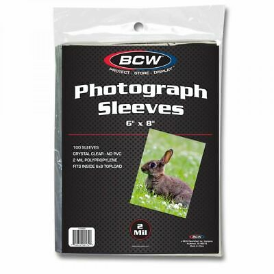 1 Pack of 100 BCW Brand 6 x 8 Photo Photograph Poly Sleeves Holders