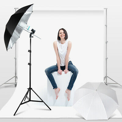 Photography Umbrella Reflector Black/White Stand Lighting Kit for Photo Studio