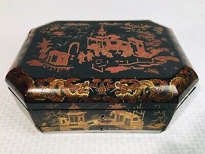 Antique Victorian Japanese Lacquer Sewing Box Chest Hand Painted W/ Key Signed