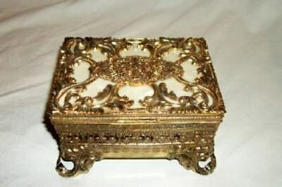 French Filigree Ormolu Jewelry Casket Celluloid Ornate Lined Mid Century