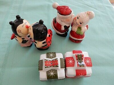 2 Sets Of Kissing Salt and Pepper Shakers Bees And Santa + Bonus Set
