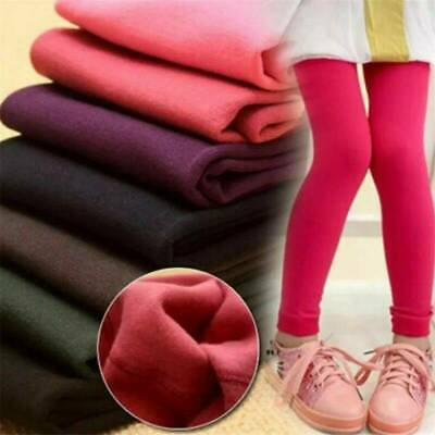 Kids Girls Winter Warm Thick Fleece Leggings Stretch Cotton Solid Trouser Pants