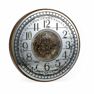 NEW Mirrored Round Wall Clock - Batteries Not Included