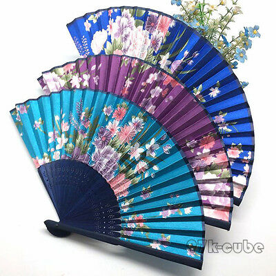 Chinese Folding Silk Floral Printed Hand Flower Bamboo Asian Pocket Fan Modern