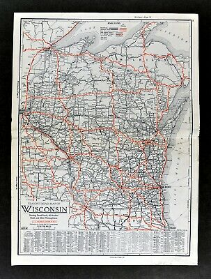 1930 Clason Auto Road Map Wisconsin Milwaukee Green Bay La Crosse Madison Dells