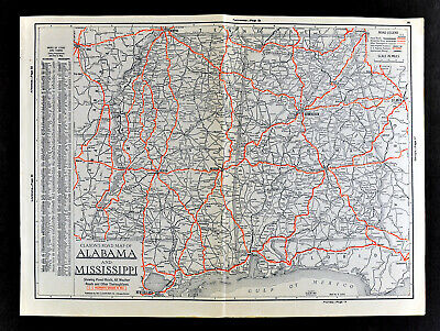 1930 Clason Auto Road Map Alabama Mississippi Birmingham Mobile Jackson Biloxi