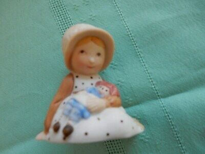 Vintage Porcelain Holly Hobbie Girl  Holding Her Raggdy Anne Doll