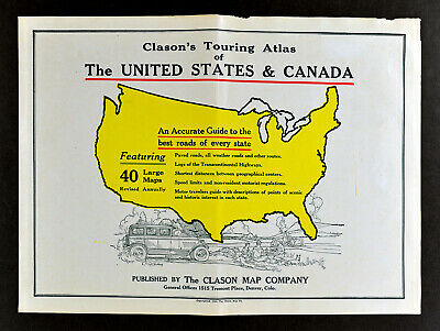 1930 Clason Touring Atlas of United States & Canada Rear Cover Antique Car