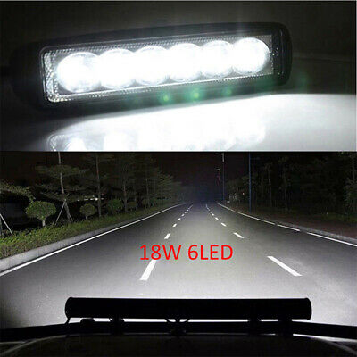 """18W 6 """" LED Work Light Bar Flood Lamp Offroad Driving Fog 4WD For SUV Truck"""
