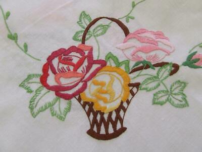 Lovely Large Hand Embroidered Vintage Tablecloth - Baskets of Colourful Roses