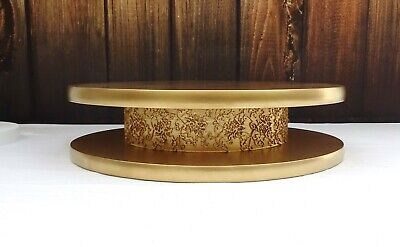 12 inch  GOLD PAINTED HAND MADE  WOODEN  WEDDING CAKE STAND
