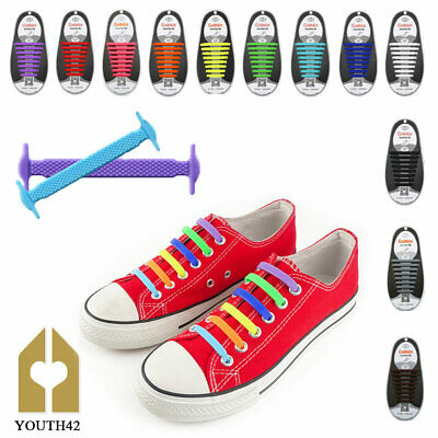 Elastic No Tie Rubber Shoe Laces Colored ShoeLaces Trainers Snickers Kids Adults