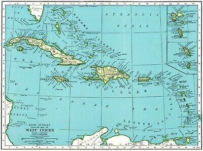 1942 Antique CARIBBEAN Map West Indies Map Cuba Puerto Rico Jamaica Map 7124