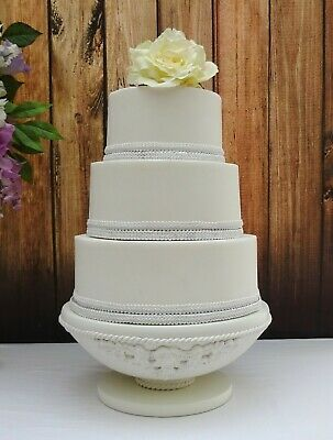 12 inch  SOFT WHITE PAINTED HAND MADE  WOODEN PEDESTAL WEDDING CAKE STAND