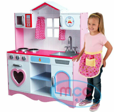 Large Girls Kids Pink Wooden Play Kitchen Children's Play Toy gift for birthday