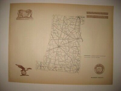 Antique 1920 Madison County London Ohio Road Highway Map Railroad Detailed Rare