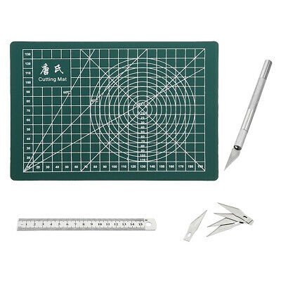 Drillpro A5 PVC Rectangle Grid Line Cutting Mat Stainless Metric Ruler 6pcs Blad