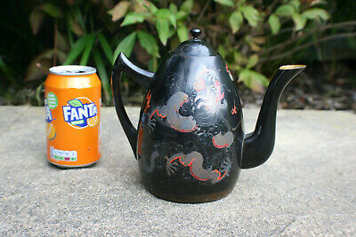Antique Chinese Wooden Lacquer Painted Dragon Teapot - SHIN SHAO AN LOONG KEE #1