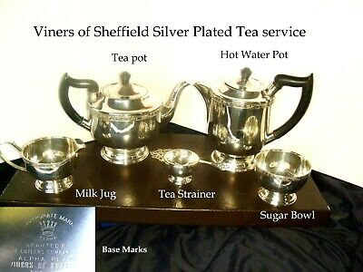 Viners of Sheffield Silver plated Tea Service Tea Pot, Hot water pot. milk jug +