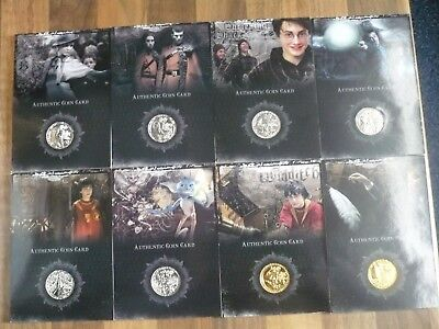 Harry Potter Coin Cards Artbox  Set CC1 to CC8 silver and gold.