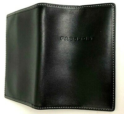 New - COACH Black Leather Passport Case Wallet Cover Holder - Luxury Gift