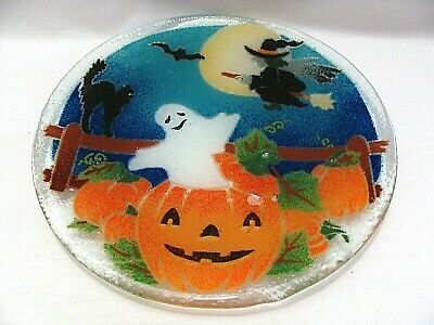 Peggy Karr Fused Art Glass Halloween Plate Witch Black Cat Ghost Jack-O-Lantern